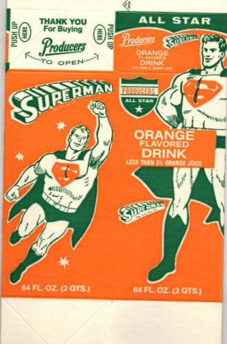 Vintage Original Superman Orange Drink Carton, 1968, Unused, Flat
