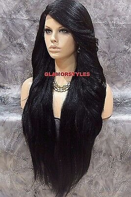 Human Hair Blend Hand Tied Monofilament Lace Front Full Wig Long Jet Black #1  (Jet Black Wig)