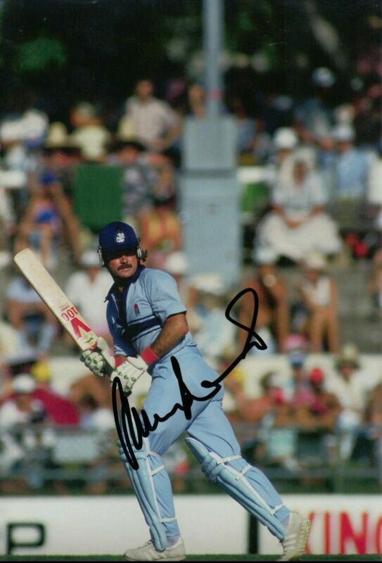 Allan Lamb Signed 12X8 Photo England Cricket Legend AFTAL COA (2606)