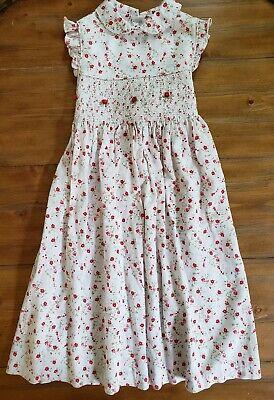 LAURA ASHLEY Smocked Long Dress Roses Sleeveless First Day of School Girls 6  - First Day Of School Girl