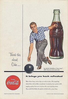 VINTAGE 1954 COCA-COLA Original Ad Bowling Eddie Fisher Classic Coke Decor