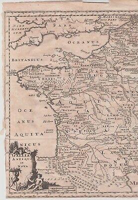 "c1720 Antique Map - ""GALLIA ANTIQUA ET NOVA"" - Ancient & New France - P. Cluver"