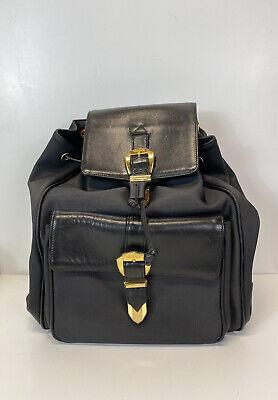 Rare Vtg Gianni Versace Black Leather Belted & Vinyl Backpack