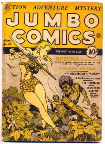 JUMBO COMICS #40 G, Sheena Jungle Queen, Fiction House 1942
