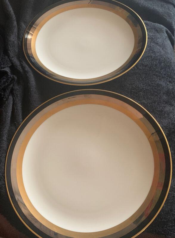 "(2) TWO Gorham China MIDNIGHT CONTESSA  Dinner Plate(s) 10 3/4"""
