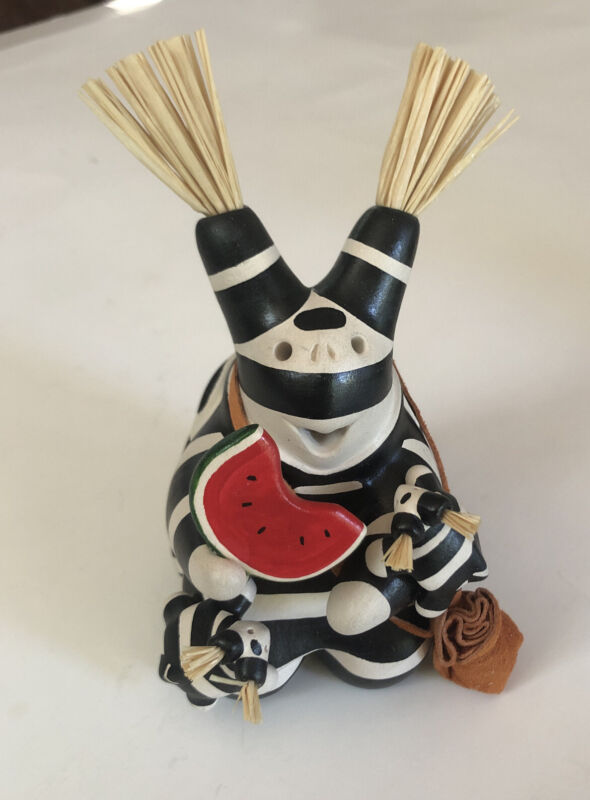 Signed Randy Chitto Clown  Native American Indian  Pottery Storyteller Statue
