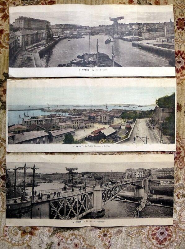 3 ORIGINAL PANORAMIC PHOTOGRAVURE ENGRAVINGS of BREST by ARTAUD ET NOZAIS c 1915