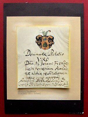 1670 A. Birnbaum - LEIBARZT Kurfürst von SACHSEN - Autograph + Wappen