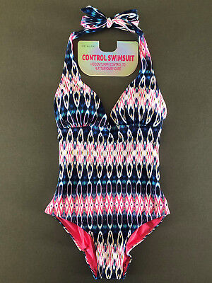 Damen Form Badeanzug Shaping Shapewear Bauchweg Push-Up Neckholder Batik Ombre