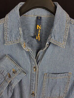 7 FOR ALL MANKIND Mens Blue Striped L/S Button-Down Shirt Small S Slim Fit 7 For All Mankind Shirts