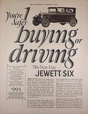 """Original Print Ad 1926, New-Day Jewett Six Automobile Car, 11""""x14"""" VG+"""