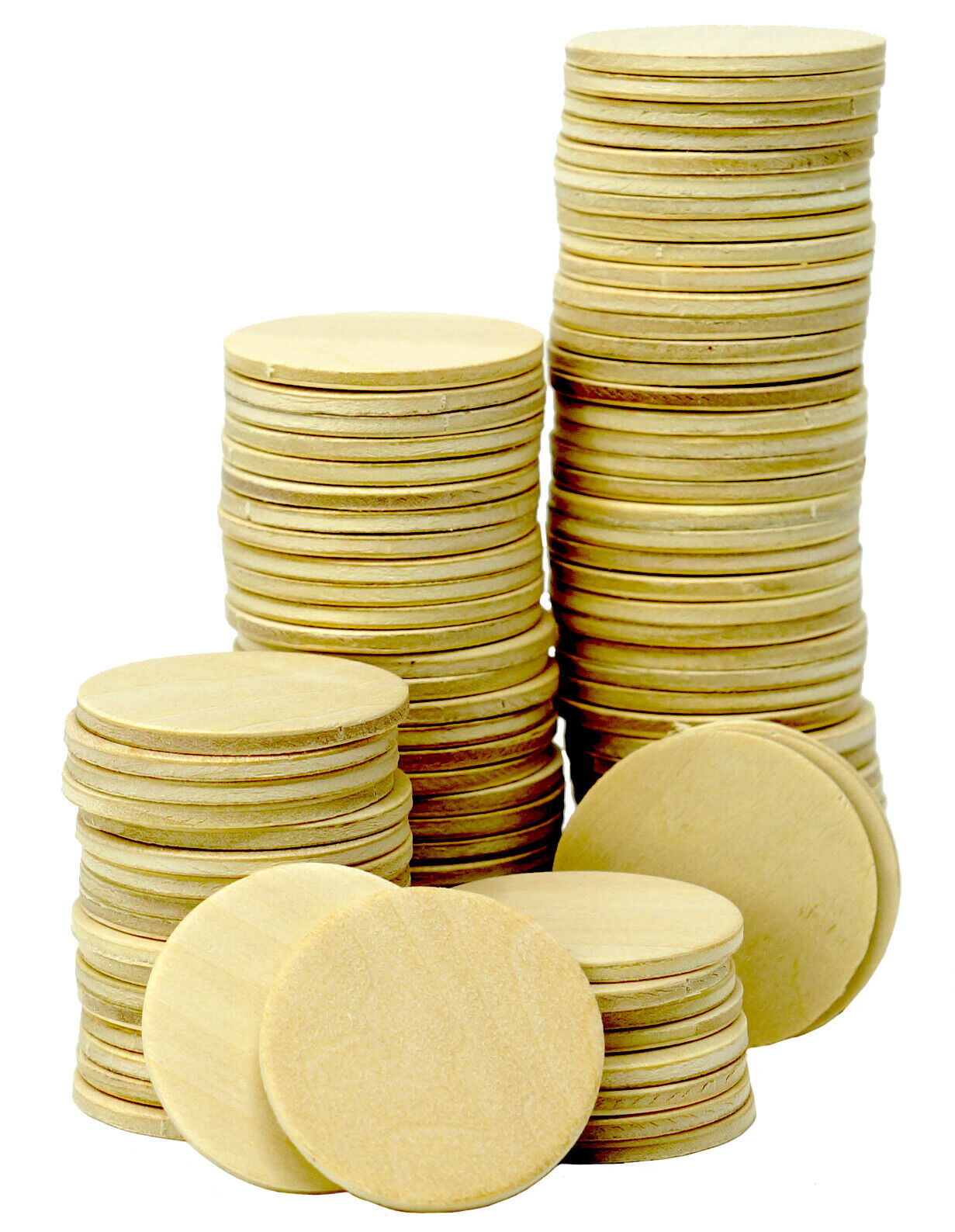 100 Round Unfinished 1.5″ Wood Cutout Circles Chips for Crafts, Games, Ornaments Crafting Pieces