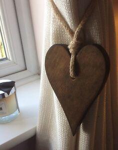 Pair Of Handmade Dark Wooden Long Heart Curtain Tie Backs With Jute Rope Tie