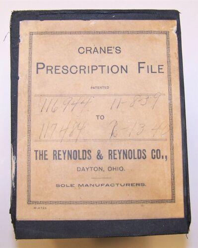 Vintage 1939-40 Cardboard Pharmacy Rx Prescription File Box FULL! Lordsburg, NM