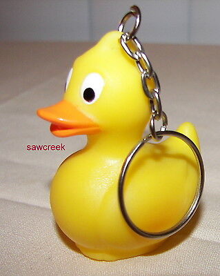 (1 YELLOW RUBBER DUCK KEY CHAIN/KEY RING~Baby shower~Party Favors~~Gift~Birthday)