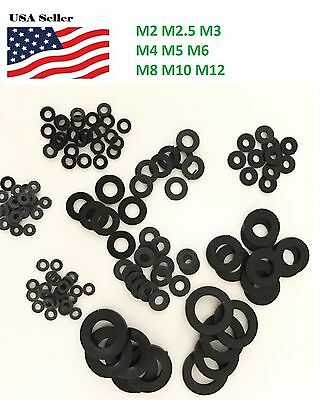 M2, M2.5, M3, M4,M5, M6, M8, M10, M12 black Plastic Nylon Flat Spacer Washer
