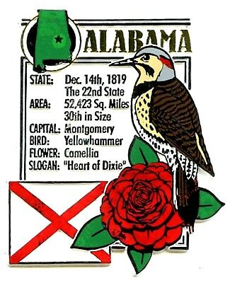 Alabama The Heart Of Dixie State Montage Fridge Magnet - Heart Magnets