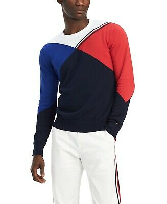 Tommy Hilfiger Mens Sweater Blue Red Size XL Crewneck Colorblocked $89 108