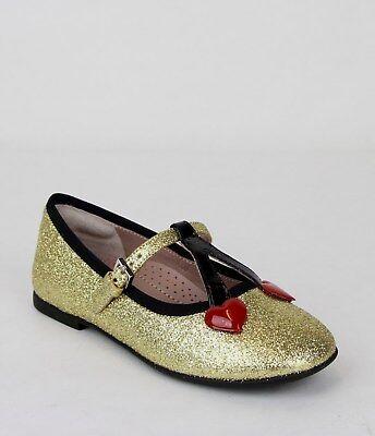 Gucci Mädchen Kleinkind Gold Schimmer Stoff Ballerinas W / Kirsch Herzen 433118