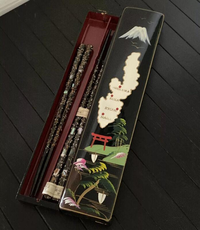 VTG Japanese Black Inlaid Abalone His Hers Chopstick Set Lacquer Box URUSHI Fugi