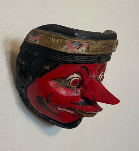 Antique Vtg Asian Bali Topeng Java Indonesia Tribal Wayang Wood Folk Art Mask