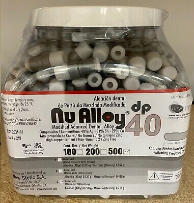 Dental Amalgam Modified Admixed 40 Alloy 3 Spill Container Of 500 Capsules