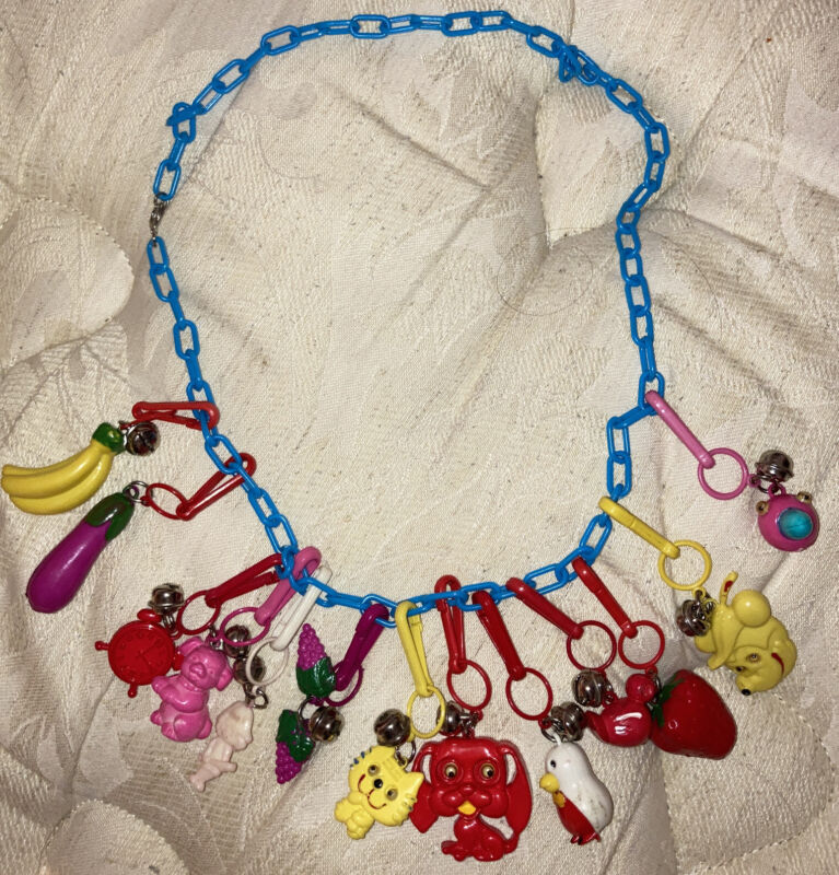 VTG 1980s Plastic Bell Clip CHARM NECKLACE Vintage 80s Party 13 Charms Total