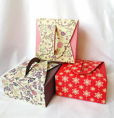 Mauve Yellow  Red Snowflakes  Pastry Box ,for  Cookie /Cupcake /Muffin / 12cts - Red Snowflakes