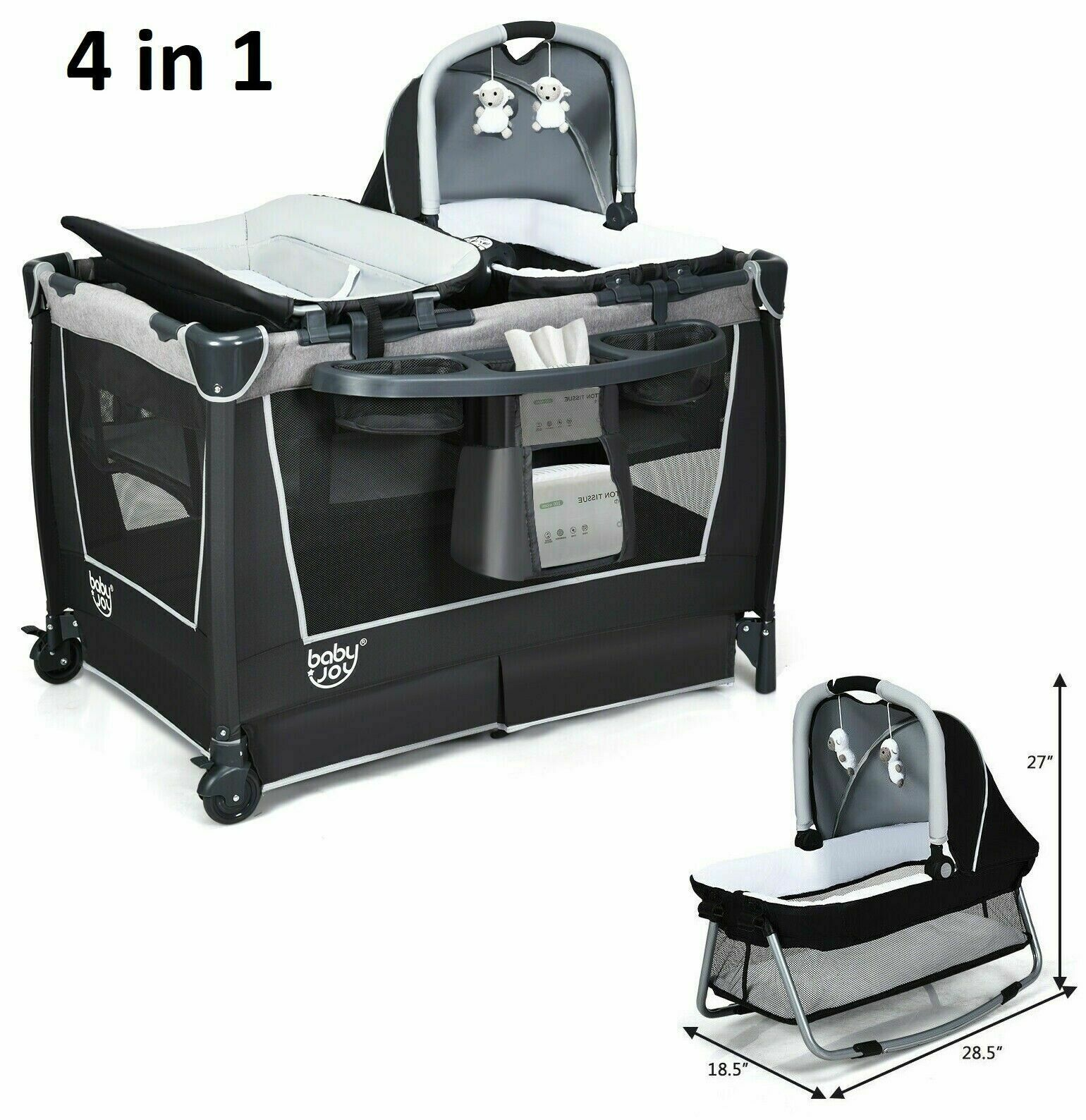 Mobile Playpen Infant Crib Nursery Baby Portable Playard Bed