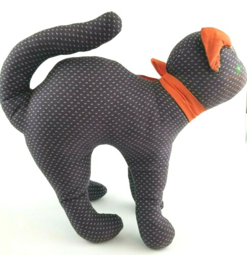 "Vintage Halloween Cat Hand Made Fabric Plush Decoration Orange Black 13"" x 12"""