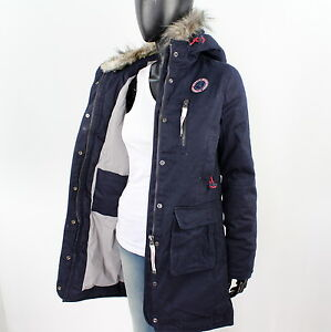 superdry damen gr l atlantic twill parka jacke mantel. Black Bedroom Furniture Sets. Home Design Ideas