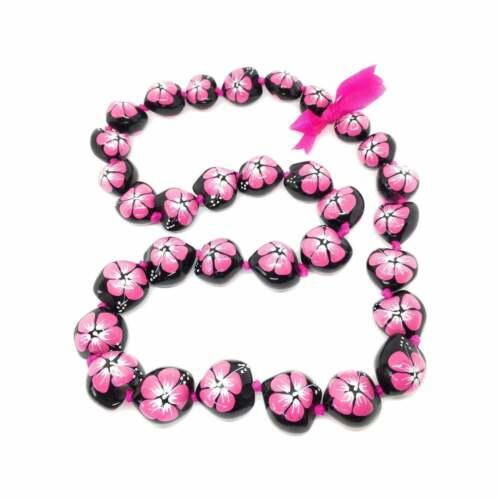Kukui Nut Lei Hibiscus Pink Flower Necklace Hawaiian Wedding Luau Graduation