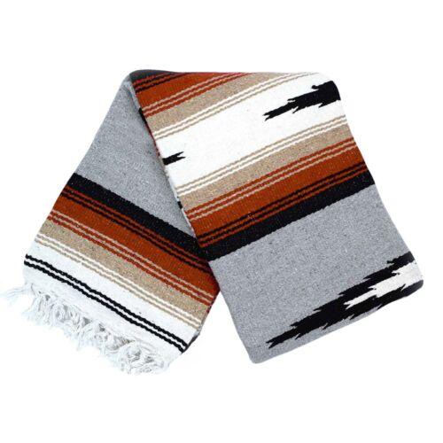 Mexican Yoga Blanket Grey Diamond Stripes White Tan Gray Serape Falsa Throw XL