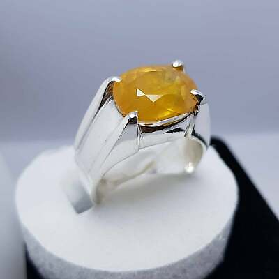 Yellow Transparent Ring -  7 Ct Yellow Sapphire Ring Semi Transparent Pukhraj Ring in 925 Sterling Silver