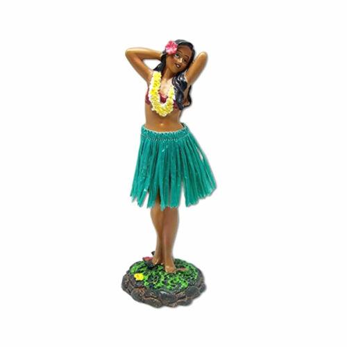 "Hawaiian Leilani Posing Green Skirt Hula Girl Dashboard Doll 7"""