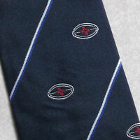 Vintage Rugby Club Tie Navy Red Striped 1970s 1980s Ball Pattern - vintage - ebay.co.uk