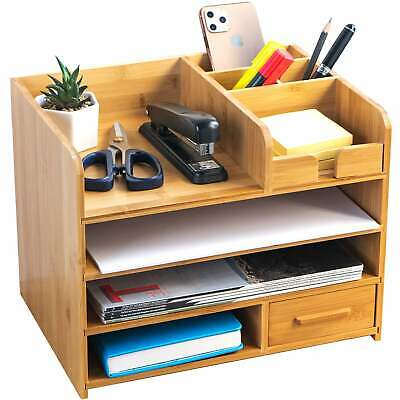 Bamboo Desktop Organizer Home Office Bamboo Desk Drawer Organizer - Durable...