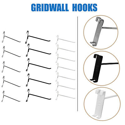 "4"",6"",8"",12"" Long Gridwall Hooks Grid Panel Display Wire Metal-BLACK,CROME,WHITE"