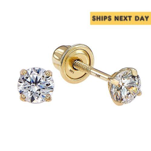 Genuine Diamond Child Stud Screw Back Earrings in 14k Solid Yellow gold