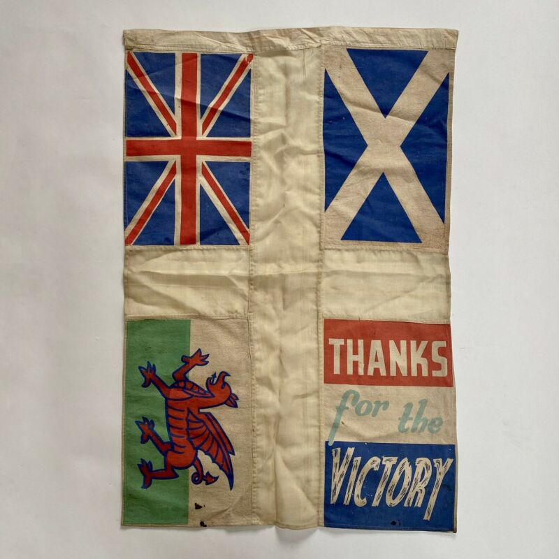 Vintage RARE Original WW2 Second World War British VE Day Celebration Flag