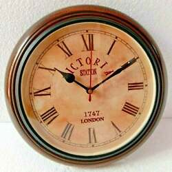 Wooden 10 inch Wall Clock Victoria Station London 1747