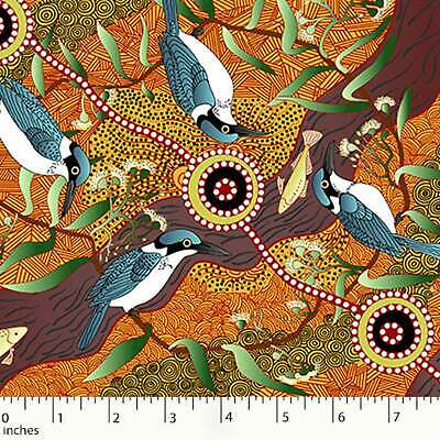 Australian Aboriginal Fabric KingFisher by Camp River Yellow 100% Cotton by Yard