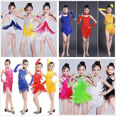 Kinder Mädchen Latin Tango Tanzkostüm Fransen Pailletten Rock Kleid Tanz (Latin Dance Kostüm Kleider)