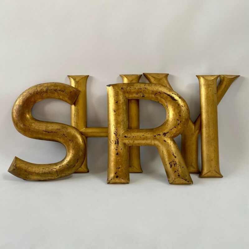 Large English Gold Metal Wooden Shopfront Letter lettering trade sign victorian