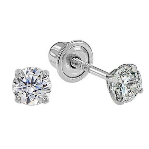 Genuine Diamond Child/Baby Stud Screw Back Earrings in 14k Solid White Gold