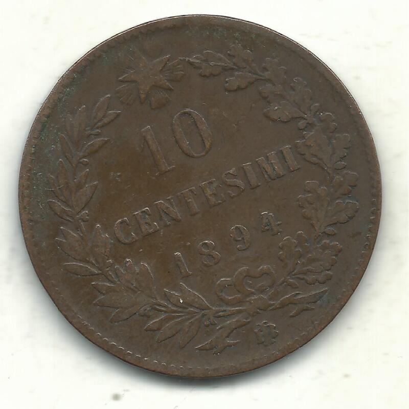 A VERY NICE VINTAGE BETTER GRADE 1894 BI 10 CENTESIMI ITALY COIN-JUN044