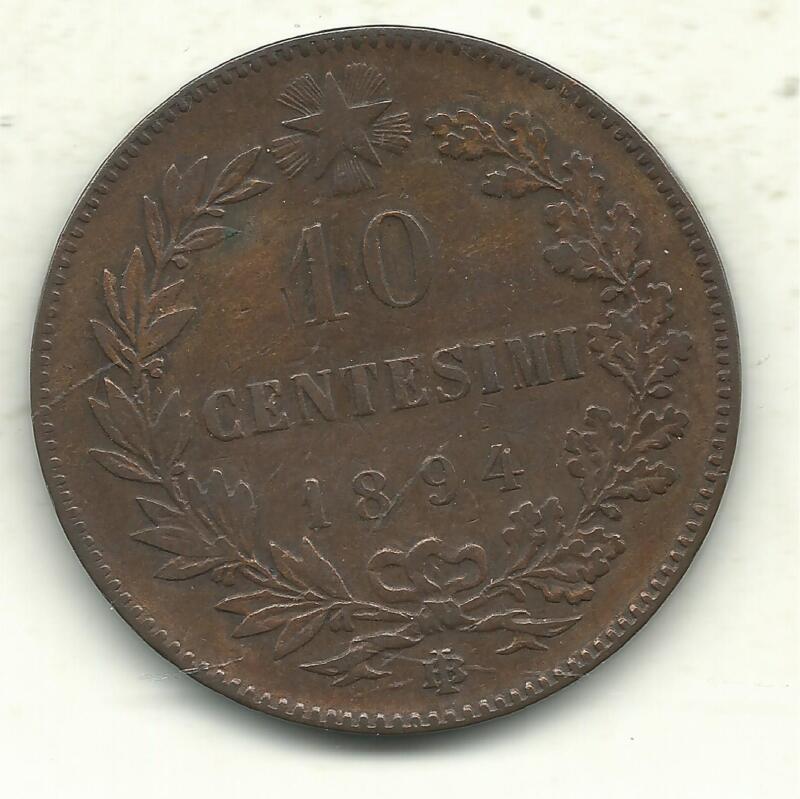 A VERY NICE VINTAGE HIGHER GRADE 1894 BI 10 CENTESIMI ITALY COIN-SEP431