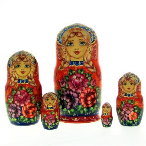 5 Poupées russes H16 Matriochka peint main signé Nested Doll Matrioshka Gigognes