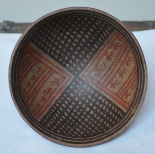 Pre-Columbian Tuza Narino Pedestal Polychrome Ceramic Bowl w Pattern Motifs