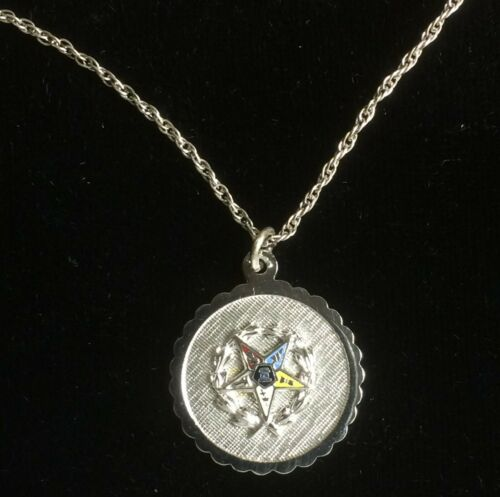 """Vintage Sterling Order of the Eastern Star Pendant and 18"""" Sterling Chain"""